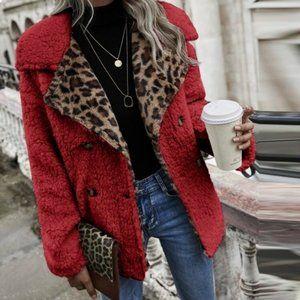 Deep Red Lapel Leopard Jacket.  Size XL